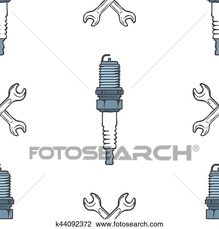 Spark Plug With Crossed Wrenches Seamless Pattern Vector Clipart