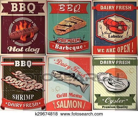 clip art of vintage bbq poster design set k29674818 search clipart