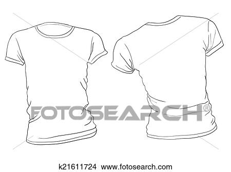 Clipart of Women\'s White T-Shirt Template k21611724 - Search Clip ...