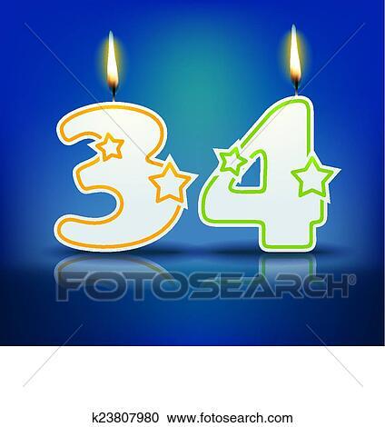 Bougie Anniversaire Nombre 34 Clipart