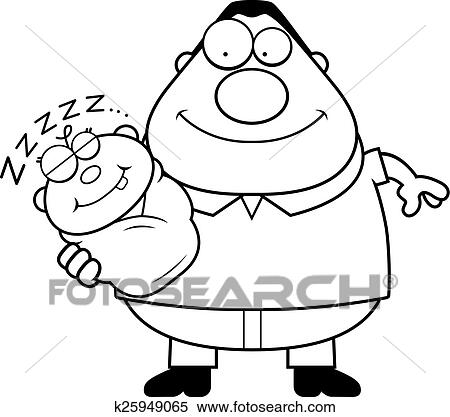 Cartoon Dad With Sleeping Baby Clipart