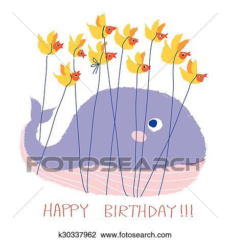 The Sky Whale I greetings card