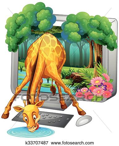 Giraffe Drinking Water Clip Art