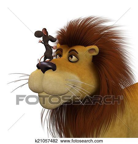 Coraggio d cartone animato topi con uno leone disegno