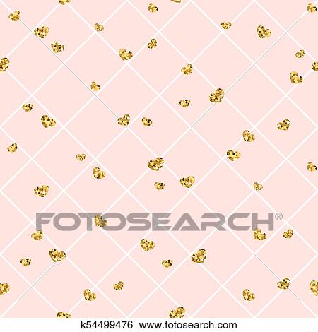 Gold Heart Seamless Pattern Pink White Geometric Decoration Golden Confetti Hearts Symbol Of Love Valentine Day Holiday Design Wallpaper Background