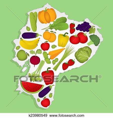 Clip Art of Map of equator with fruits k23980549 - Search Clipart ...