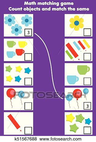 Clip Art of Math educational game for children. Matching mathematics ...