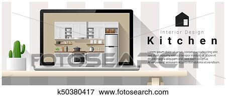 Moderno, cocina, diseño de interiores, plano de fondo, 2 Clip Art ...