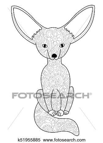 Stock Illustration Wüstenfuchs Fuchs Ausmalbilder Raster Für