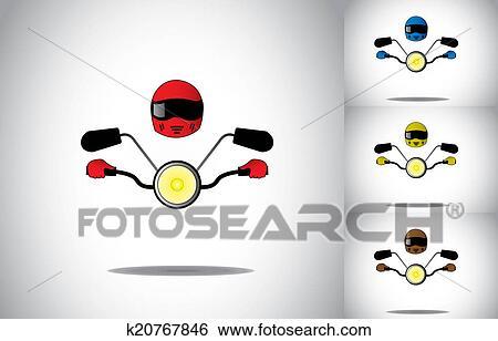 オートバイ モーターバイク 運転手 ヘルメット 乗馬 抽象的な 概念