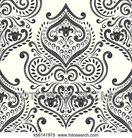 black and white damask vector seamless clipart  k56141975