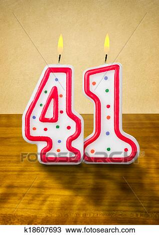 drawing of burning birthday candles number 41 k18607693 search