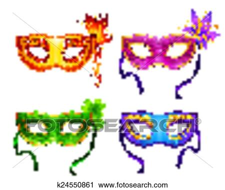 Coloridos Vetorial Carnaval Máscaras Jogo Clipart
