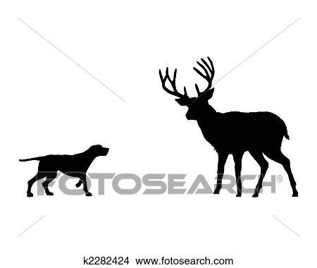 Dessins Deux Animaux Setter Et Cerf Rencontrer Face à Face