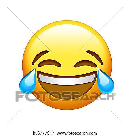 Emoji Type Caractere Jaune Lol Rire Et Pleurer Larme Icone Banque De Photo K56777317 Fotosearch