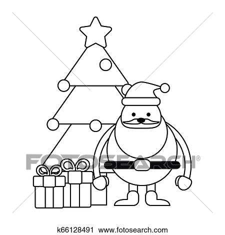 Estacao Natal Desenhos Animados Preto Branco Clipart K66128491