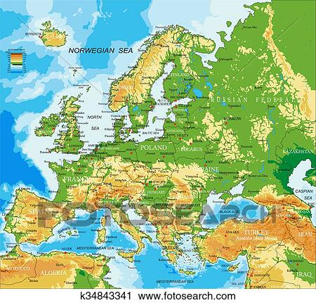 Europe - physical map Clipart k34843341