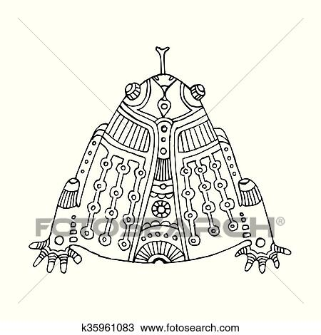 Clipart - negro, contorno, mano, dibujado, azteca, rana k35961083 ...