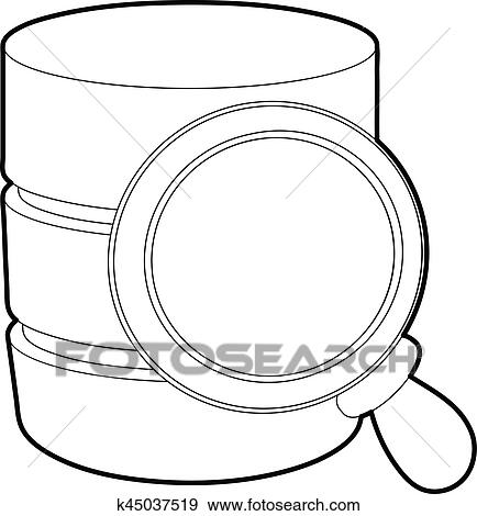 Clip Art Of Searching Database Icon Outline Style K45037519