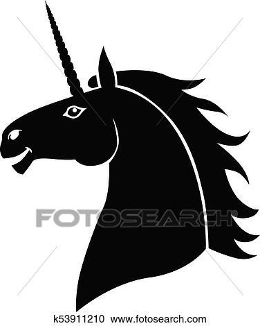 Silhouette head mycology fun unicorn Clipart
