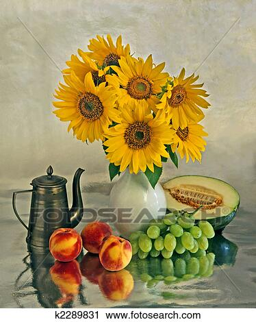 Stock Photography Of Still Life With A Sunflowers And Fruits