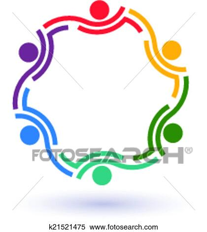 clipart of teamwork 6 circle summit logo k21521475 search clip art rh fotosearch com Youth Clip Art Mountain Clip Art