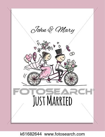 Wedding Card Design Bride And Groom Riding On Bicycle Clipart