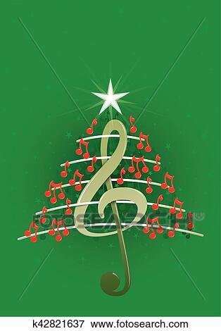 Clip Art - árbol de navidad, hecho, de, rojo, notas musicales, clave ...
