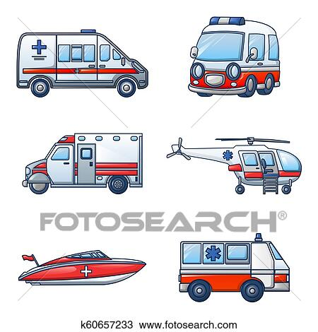 سيارة إسعاف نقل الإيقونات أجبر العظم رسم كاريكتوري لقب الرسم K60657233 Fotosearch