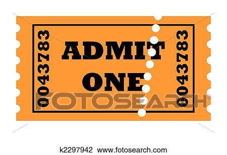 admit one perforated ticket isolated on white background with copy space