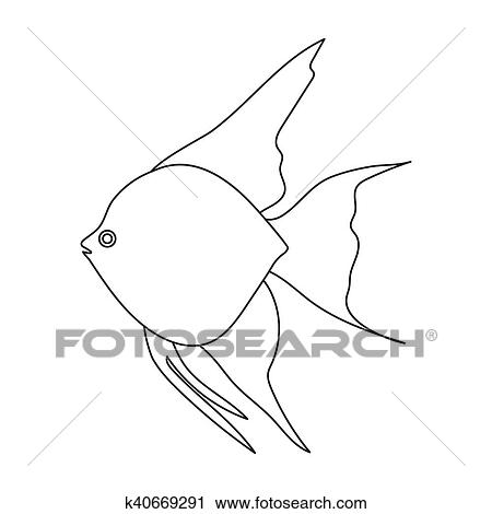 Clipart Of Angelfish Common Fish Icon Line Singe Aquarium Fish Icon