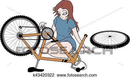Clipart Of Bike Repair K43420322 Search Clip Art Illustration