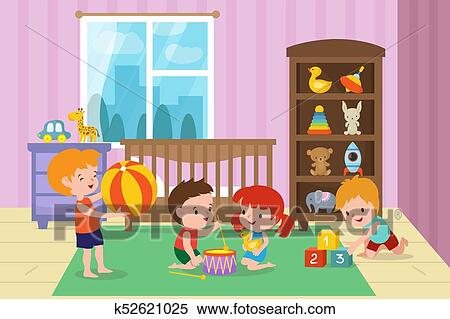 Clipart Of Children Playing With Toys In Playroom Of Kindergarten
