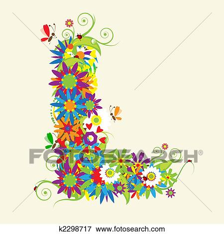 Clip Art Of Letter L Floral Design See Also Letters In My Gallery