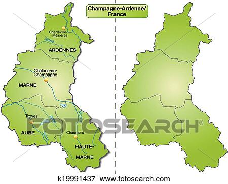 Map of Champagne-Ardenne Clip Art | k19991437 | Fotosearch Champagne Ardenne Map on