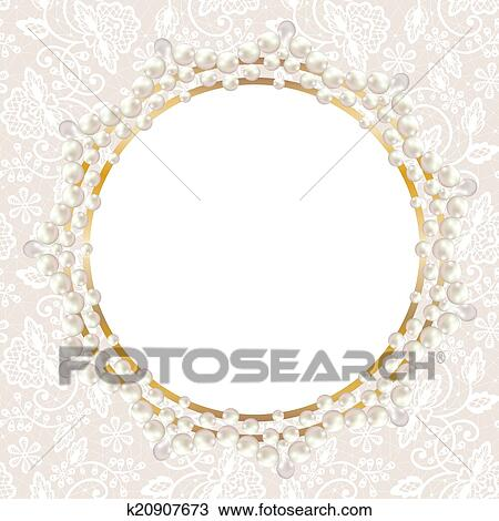 clipart of pearl frame on white lace background k20907673 search