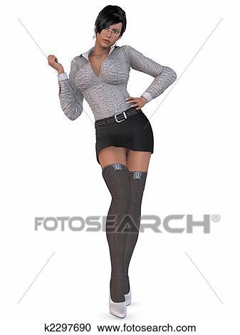 D Render Of An Sexy Secretary