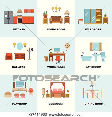 Clipart soggiorno camera letto cucina bambini bagno for Mobilia spazio