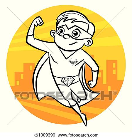 Superhero Coloring Page Comic Character Isolated On White