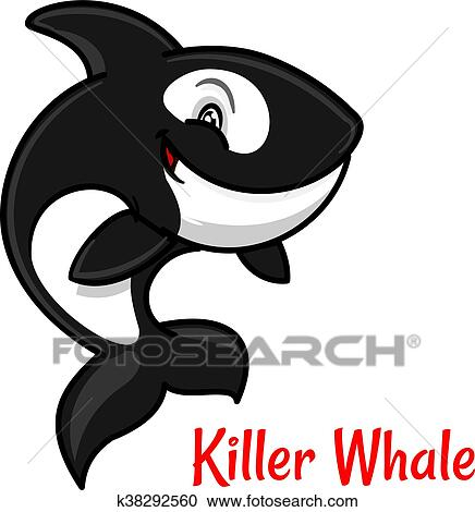 Cartoon black and white killer whale or orca Clipart ...