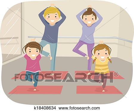 Clipart Of Family Yoga K18408634