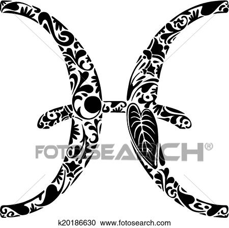 Clipart Of Pisces Zodiac Sign K20186630 Search Clip Art