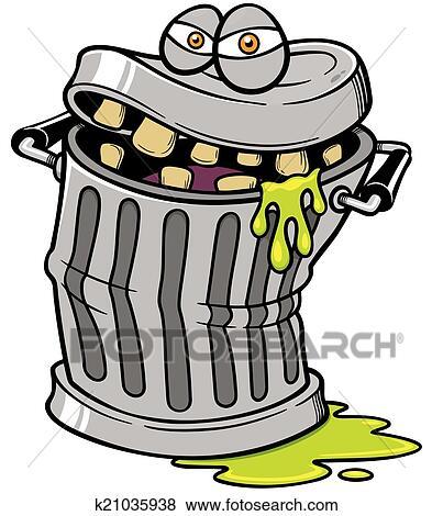 Poubelle clipart k21035938 fotosearch - Dessin de poubelle ...