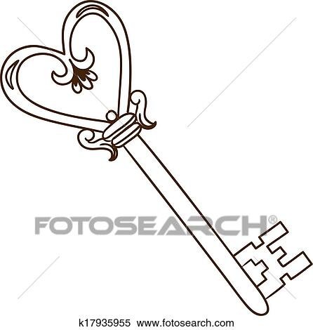 clipart of romantic heart shaped key isolated on white k17935955