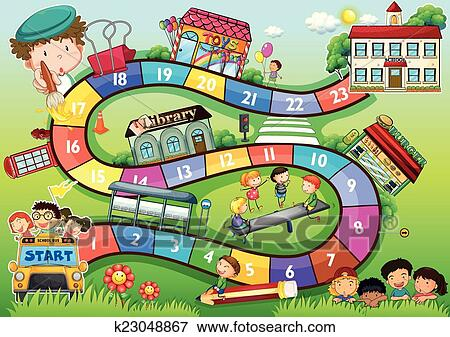 clip art of school theme board game k23048867 search clipart