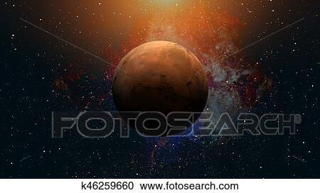 Colección de ilustraciones - sistema solar, -, mars., él, es, el ...