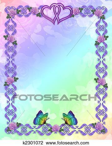 3D scroll accents Illustration for elegant formal elegant birthday, Wedding invitation, Frame, Valentine or Background with lavender roses, butterflies, ...