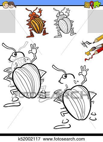 Clip Art - zeichnung, und, färbung, aktivität, mit, kartoffelkäfer ...