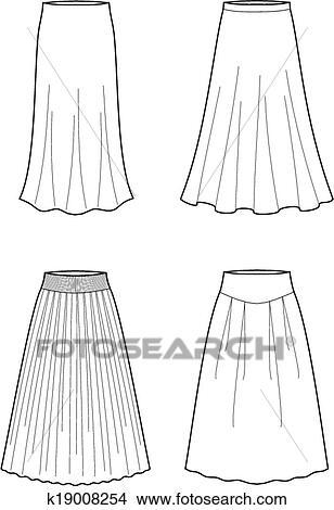 スカート クリップアート切り張りイラスト絵画集 K19008254