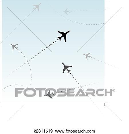 Clip Art - aerolínea comercial, pasajero, aviones, vuelos, tráfico ...